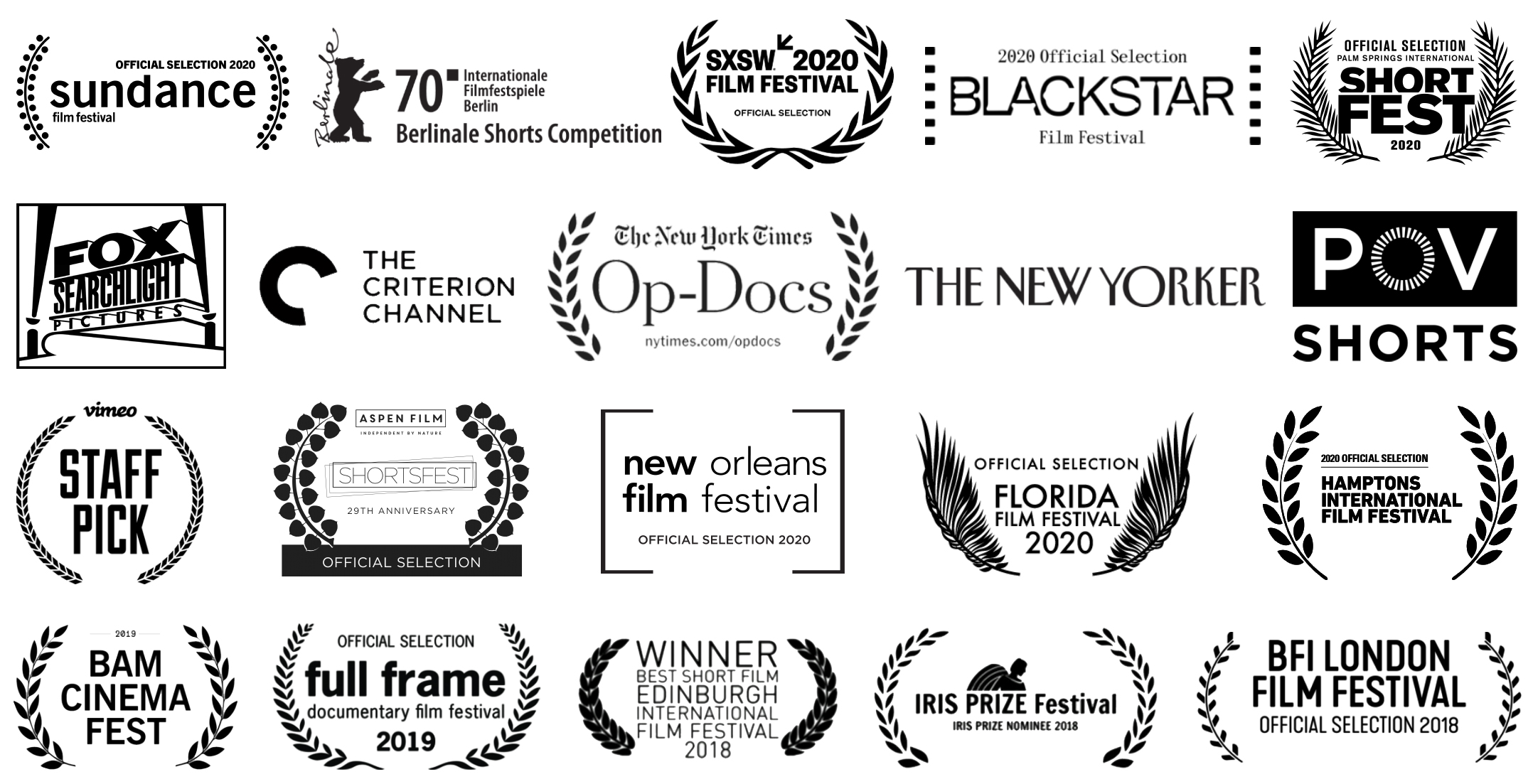 Laurels and logos of film festivals and distributors who have selected Creative Culture films.