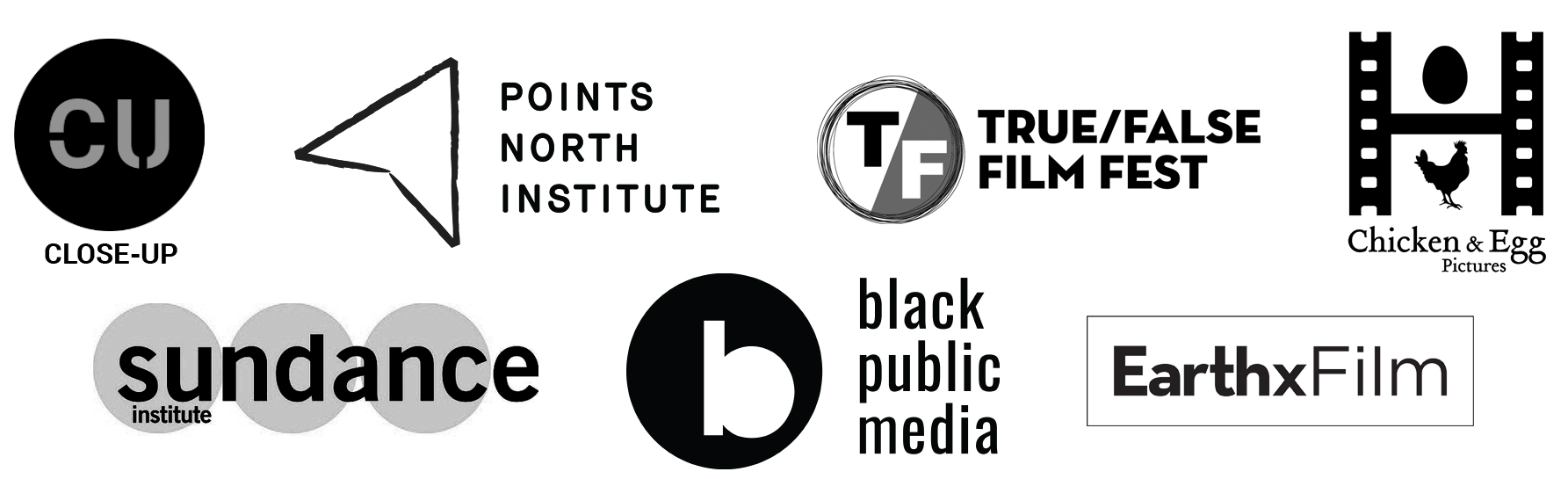 Logos of our residency partners including Sundance Institute, Black Public Media, and others.